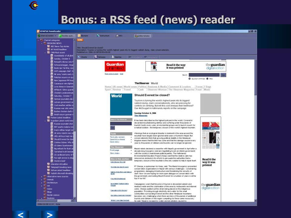 >< Bonus: a RSS feed (news) reader