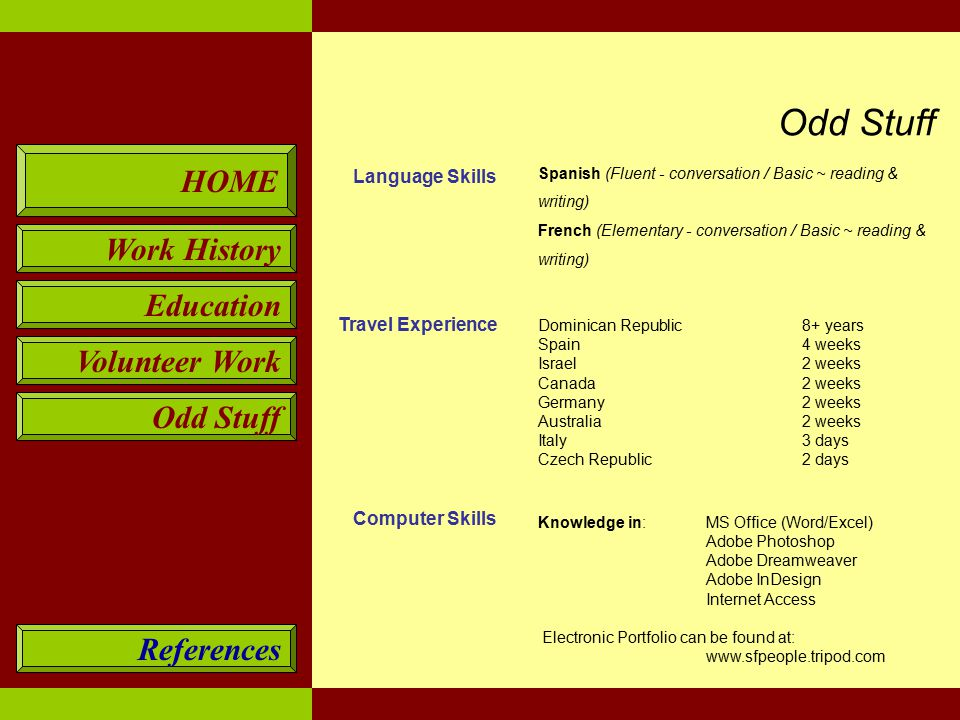 HOME Work History Education Volunteer Work Odd Stuff References Language Skills Travel Experience Computer Skills Spanish (Fluent - conversation / Basic ~ reading & writing) French (Elementary - conversation / Basic ~ reading & writing) Dominican Republic8+ years Spain4 weeks Israel 2 weeks Canada 2 weeks Germany2 weeks Australia2 weeks Italy3 days Czech Republic2 days Knowledge in:MS Office (Word/Excel) Adobe Photoshop Adobe Dreamweaver Adobe InDesign Internet Access Electronic Portfolio can be found at: www.sfpeople.tripod.com Odd Stuff