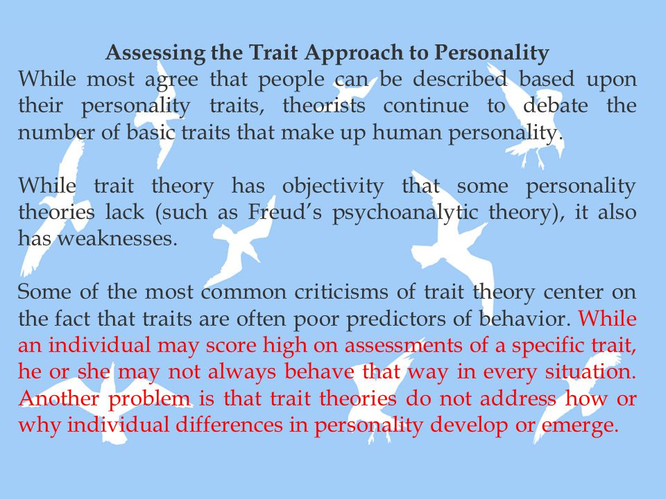 Assessing the Trait Approach to Personality While most agree that people can be described based upon their personality traits, theorists continue to d