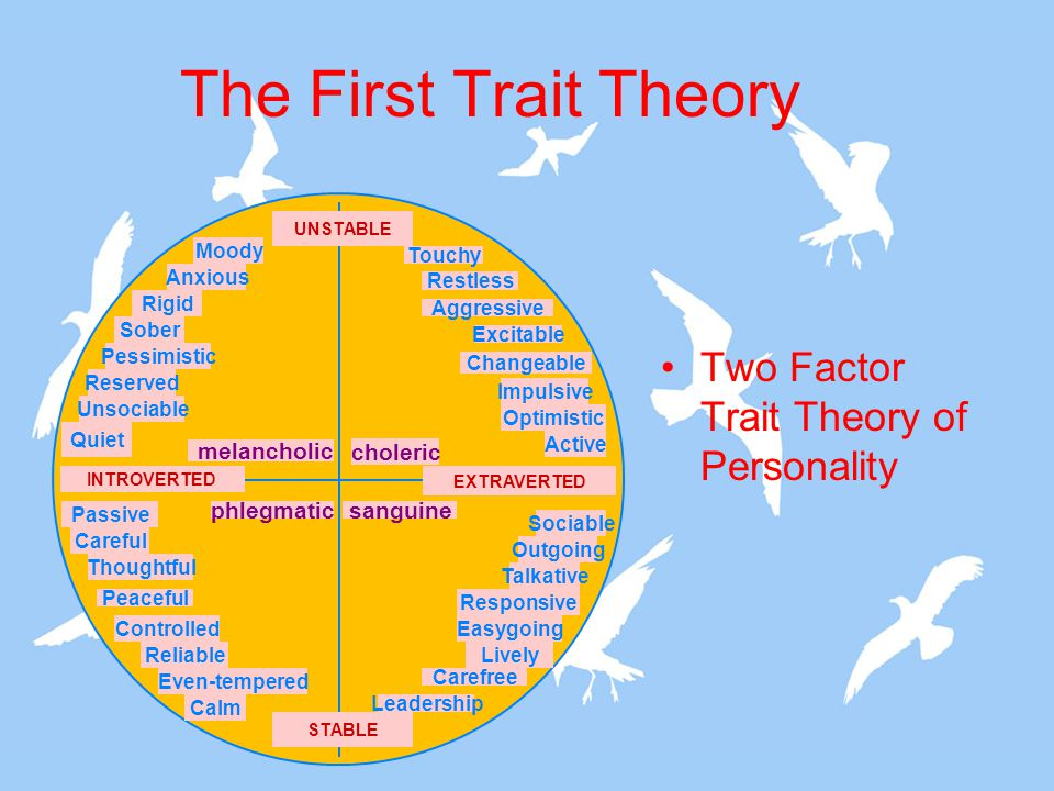 The First Trait Theory Two Factor Trait Theory of Personality UNSTABLE STABLE choleric melancholic phlegmaticsanguine INTROVERTED EXTRAVERTED Moody Anxious Rigid Sober Pessimistic Reserved Unsociable Quiet Sociable Outgoing Talkative Responsive Easygoing Lively Carefree Leadership Passive Careful Thoughtful Peaceful Controlled Reliable Even-tempered Calm Touchy Restless Aggressive Excitable Changeable Impulsive Optimistic Active