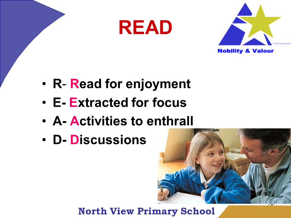 North View Primary School 16 READ R- Read for enjoyment E- Extracted for focus A- Activities to enthrall D- Discussions