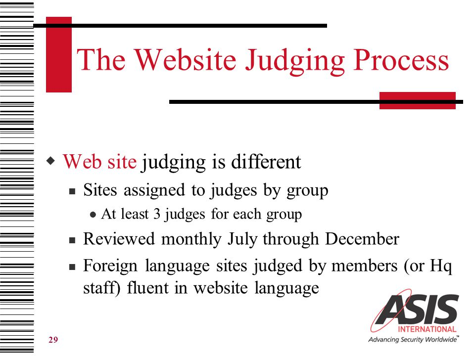 29 The Website Judging Process  Web site judging is different Sites assigned to judges by group At least 3 judges for each group Reviewed monthly July through December Foreign language sites judged by members (or Hq staff) fluent in website language