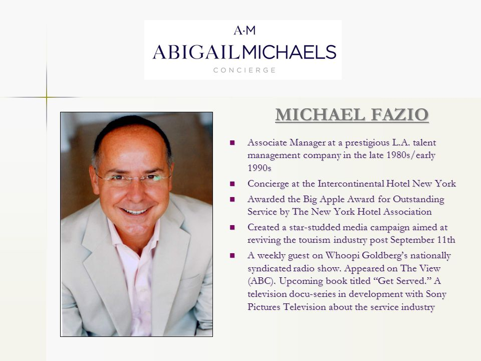 MICHAEL FAZIO Associate Manager at a prestigious L.A.