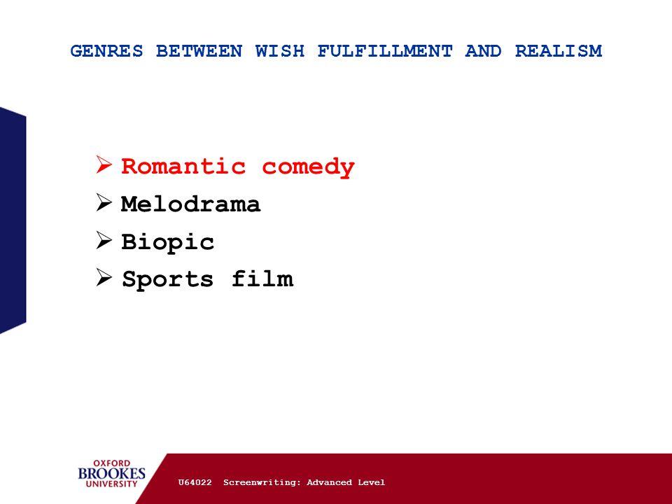 GENRES BETWEEN WISH FULFILLMENT AND REALISM  Romantic comedy  Melodrama  Biopic  Sports film U64022 Screenwriting: Advanced Level