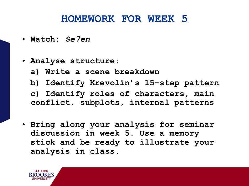 HOMEWORK FOR WEEK 5 Watch: Se7en Analyse structure: a) Write a scene breakdown b) Identify Krevolin's 15-step pattern c) Identify roles of characters,