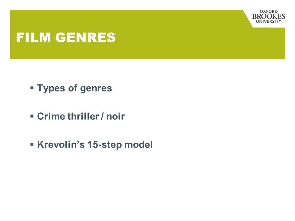 FILM GENRES  Types of genres  Crime thriller / noir  Krevolin's 15-step model