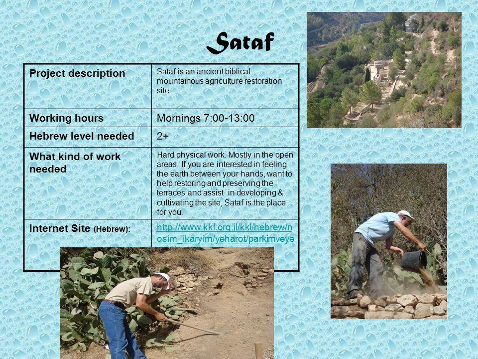 Sataf Sataf is an ancient biblical mountainous agriculture restoration site.