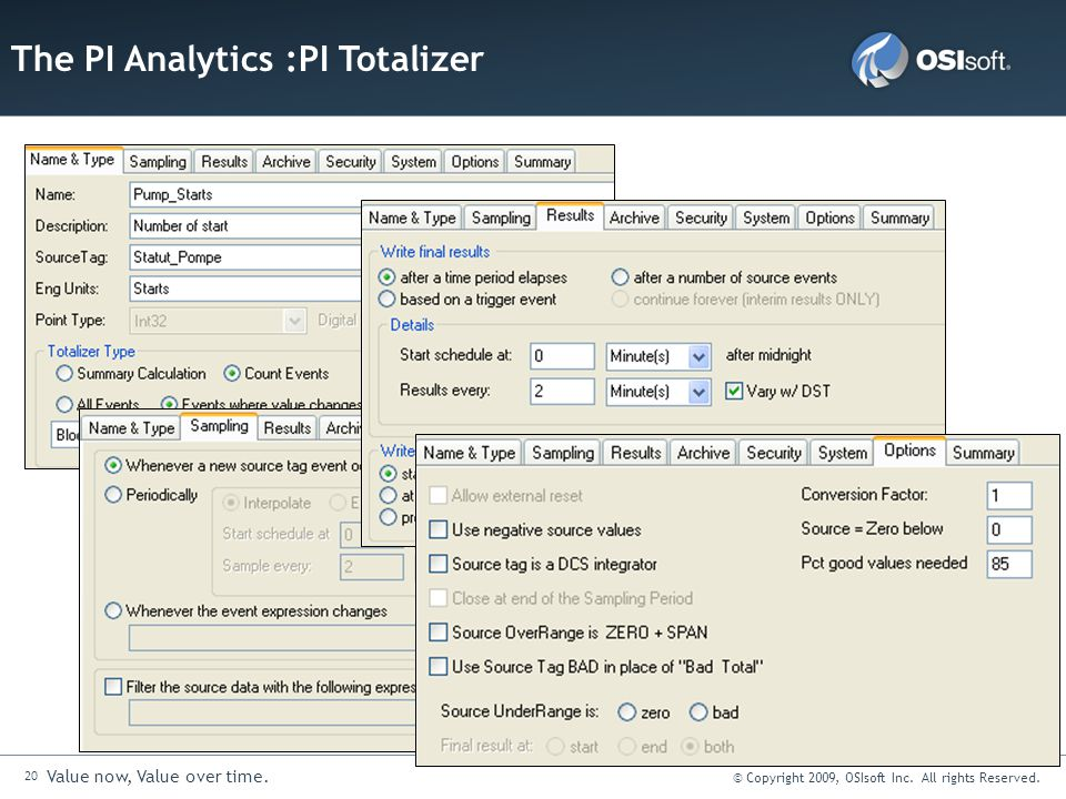 20 Value now, Value over time. © Copyright 2009, OSIsoft Inc. All rights Reserved. The PI Analytics :PI Totalizer