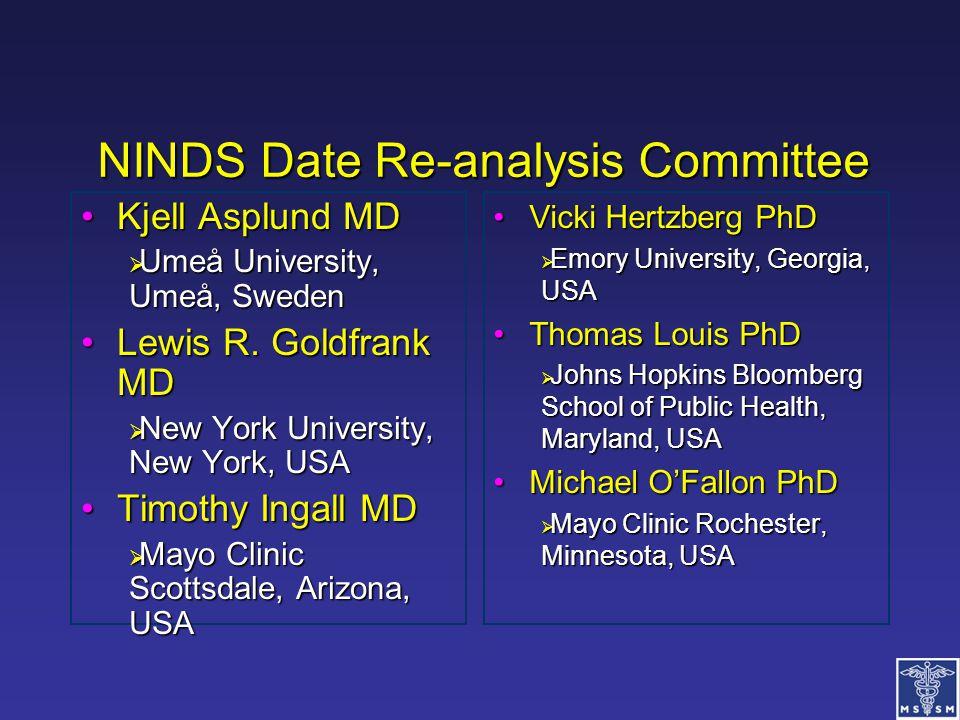 NINDS Date Re-analysis Committee Kjell Asplund MDKjell Asplund MD  Umeå University, Umeå, Sweden Lewis R. Goldfrank MDLewis R. Goldfrank MD  New Yor