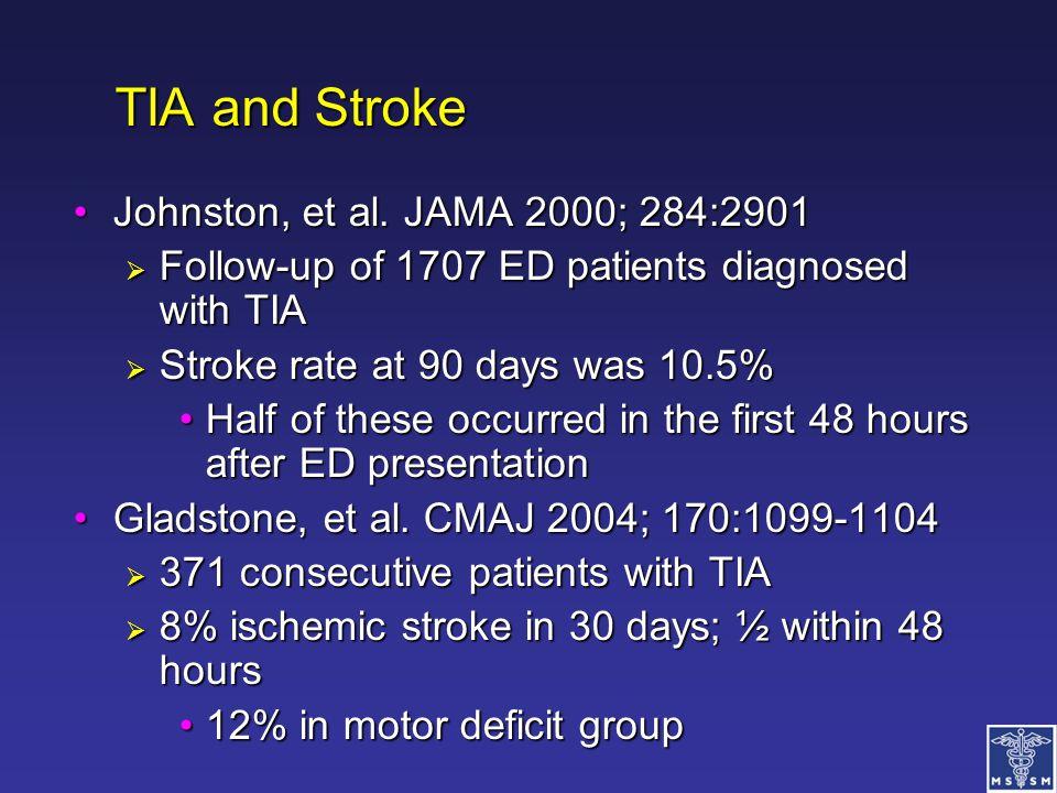 TIA and Stroke Johnston, et al. JAMA 2000; 284:2901Johnston, et al. JAMA 2000; 284:2901  Follow-up of 1707 ED patients diagnosed with TIA  Stroke ra