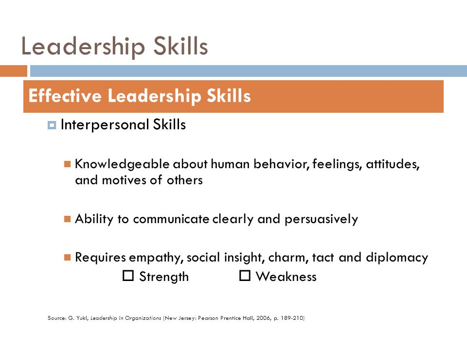 Leadership Skills  Interpersonal Skills Knowledgeable about human behavior, feelings, attitudes, and motives of others Ability to communicate clearly