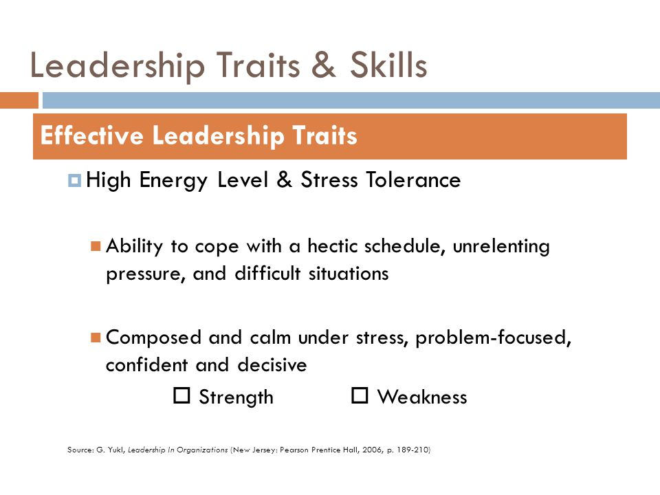Leadership Traits & Skills  High Energy Level & Stress Tolerance Ability to cope with a hectic schedule, unrelenting pressure, and difficult situatio