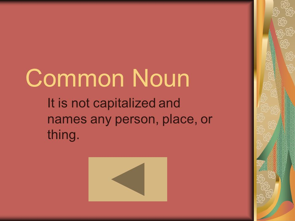 Common Noun It is not capitalized and names any person, place, or thing.