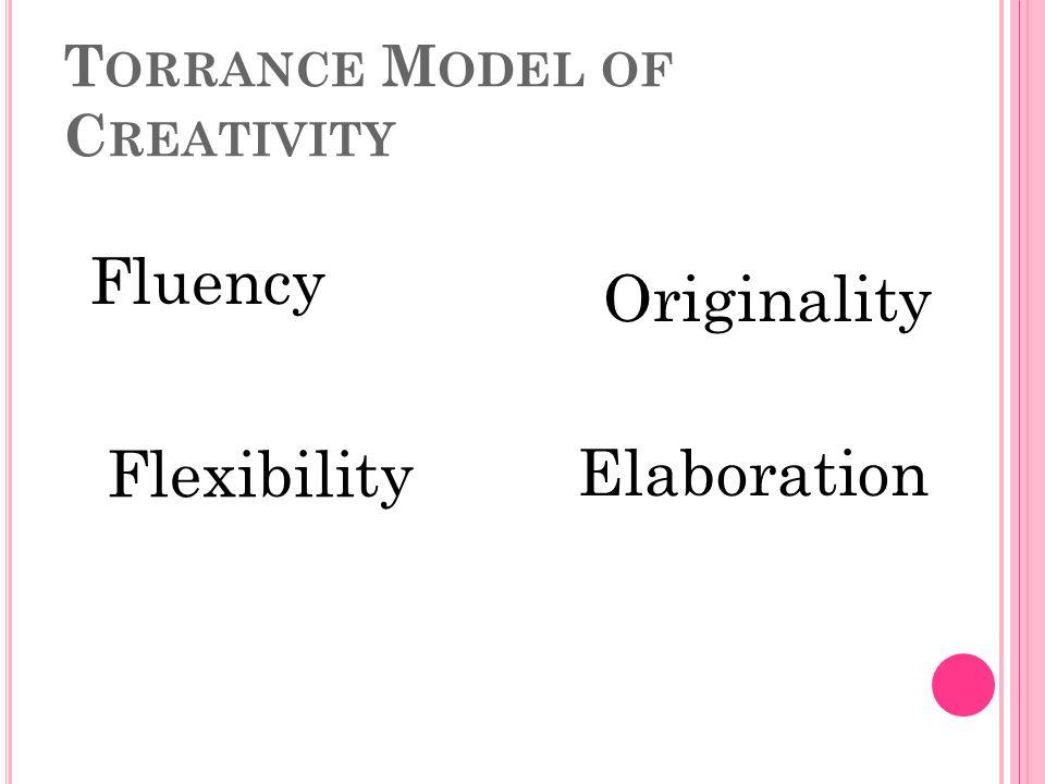 T ORRANCE M ODEL OF C REATIVITY Fluency Flexibility Originality Elaboration