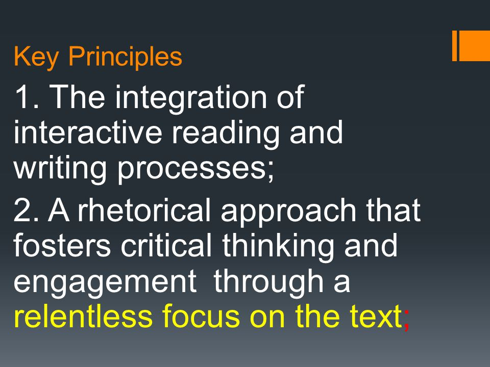 Key Principles 1.The integration of interactive reading and writing processes; 2.