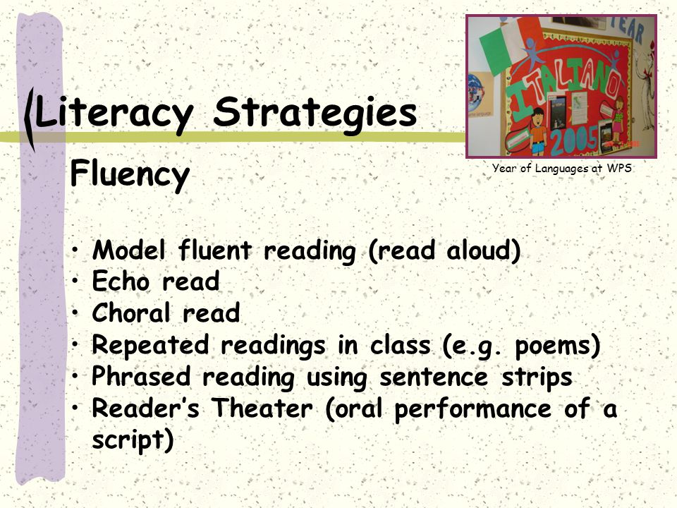 Literacy Strategies Fluency Model fluent reading (read aloud) Echo read Choral read Repeated readings in class (e.g. poems) Phrased reading using sent