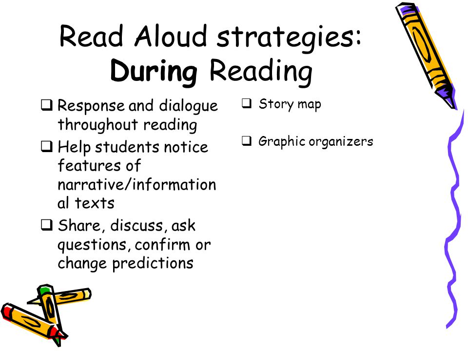 Read Aloud strategies: During Reading  Response and dialogue throughout reading  Help students notice features of narrative/information al texts  Share, discuss, ask questions, confirm or change predictions  Story map  Graphic organizers