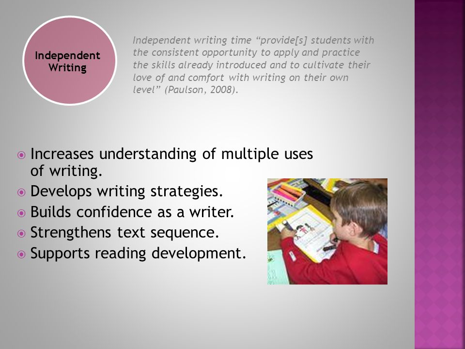  Increases understanding of multiple uses of writing.