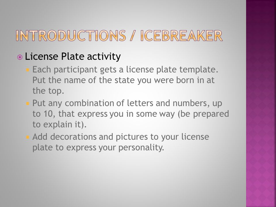  License Plate activity  Each participant gets a license plate template. Put the name of the state you were born in at the top.  Put any combinatio