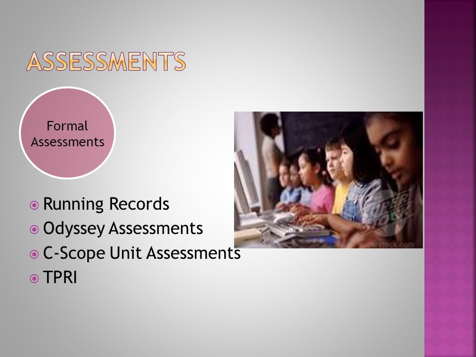  Running Records  Odyssey Assessments  C-Scope Unit Assessments  TPRI Formal Assessments
