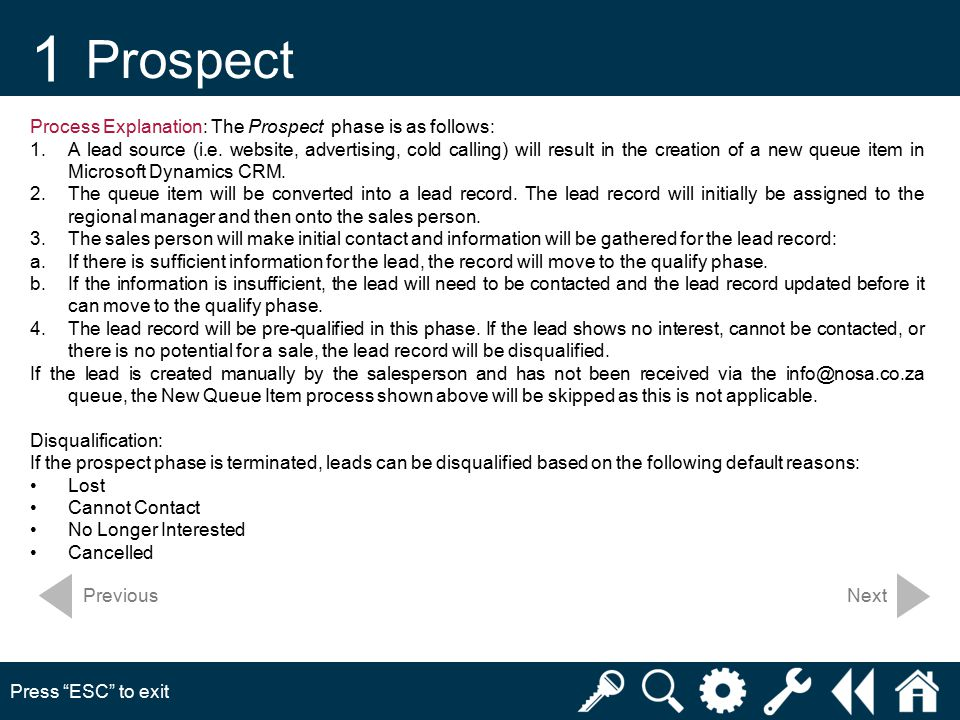 1 Prospect Press ESC to exit Next Process Explanation: The Prospect phase is as follows: 1.