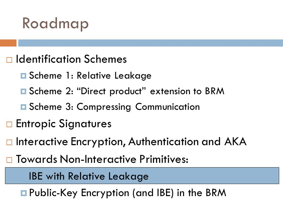 " Identification Schemes  Scheme 1: Relative Leakage  Scheme 2: ""Direct product"" extension to BRM  Scheme 3: Compressing Communication  Entropic S"