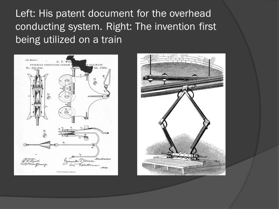 Left: His patent document for the overhead conducting system. Right: The invention first being utilized on a train