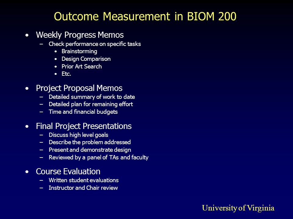 Outcome Measurement in BIOM 200 Weekly Progress Memos –Check performance on specific tasks Brainstorming Design Comparison Prior Art Search Etc.