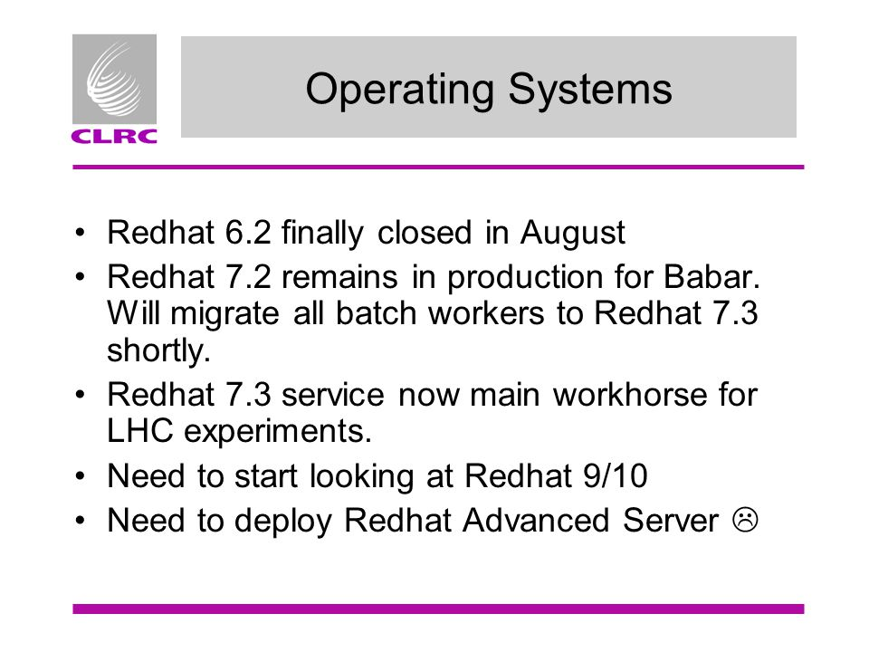Operating Systems Redhat 6.2 finally closed in August Redhat 7.2 remains in production for Babar.