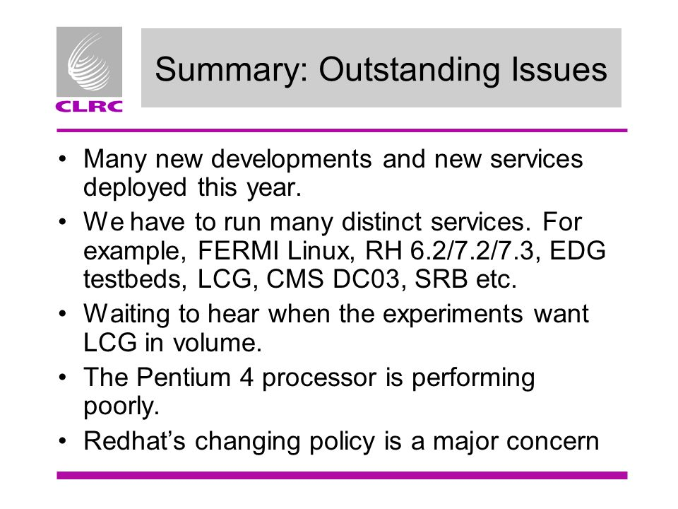 Summary: Outstanding Issues Many new developments and new services deployed this year.