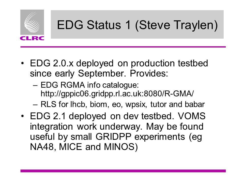 EDG Status 1 (Steve Traylen) EDG 2.0.x deployed on production testbed since early September.