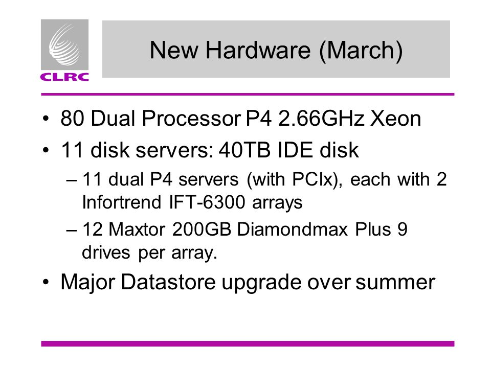 New Hardware (March) 80 Dual Processor P4 2.66GHz Xeon 11 disk servers: 40TB IDE disk –11 dual P4 servers (with PCIx), each with 2 Infortrend IFT-6300 arrays –12 Maxtor 200GB Diamondmax Plus 9 drives per array.