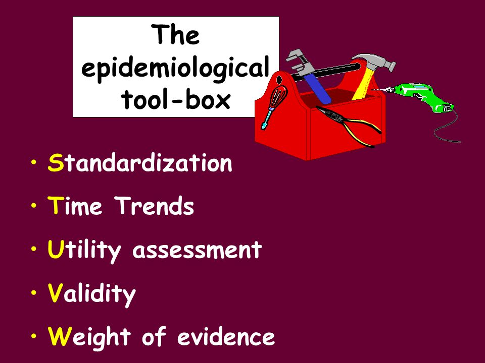 Standardization Time Trends Utility assessment Validity Weight of evidence The epidemiological tool-box