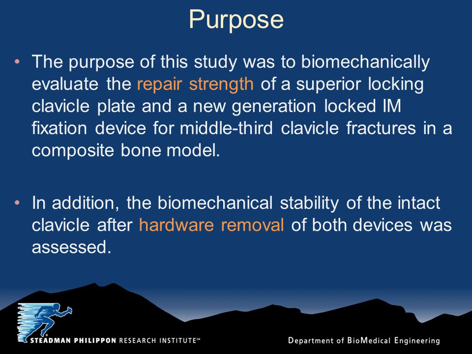 Purpose The purpose of this study was to biomechanically evaluate the repair strength of a superior locking clavicle plate and a new generation locked IM fixation device for middle-third clavicle fractures in a composite bone model.