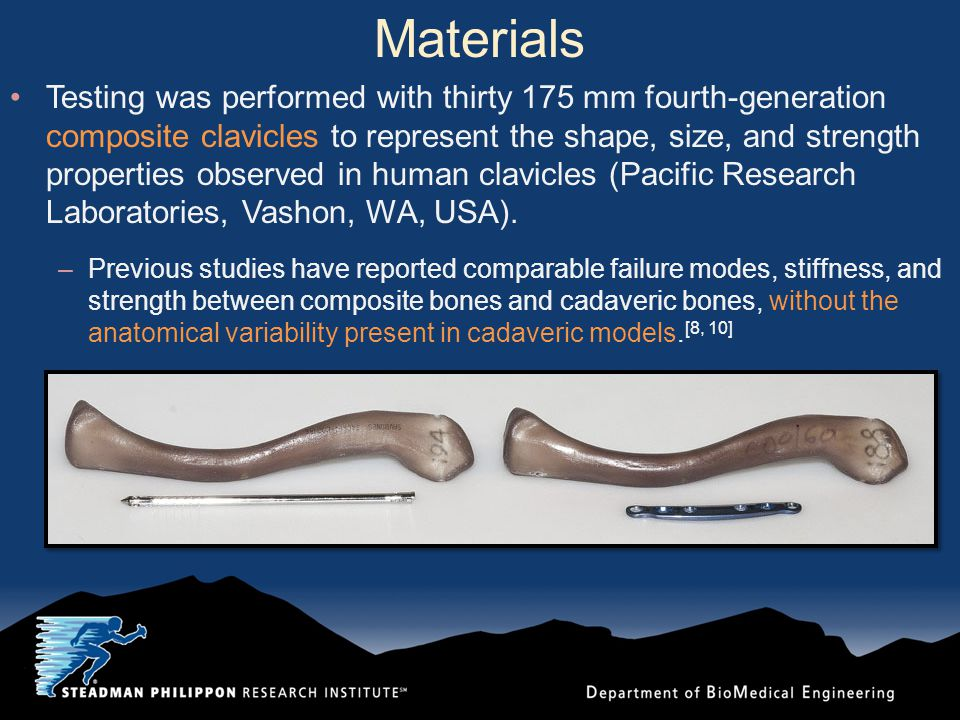 Materials Testing was performed with thirty 175 mm fourth-generation composite clavicles to represent the shape, size, and strength properties observed in human clavicles (Pacific Research Laboratories, Vashon, WA, USA).