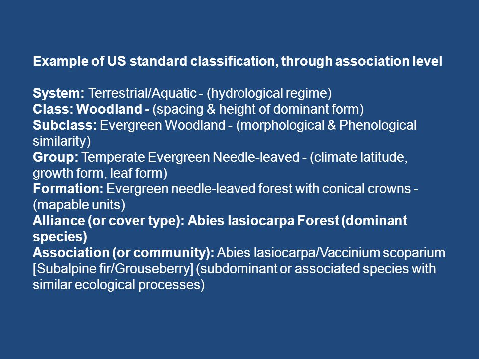 Example of US standard classification, through association level System: Terrestrial/Aquatic - (hydrological regime) Class: Woodland - (spacing & heig