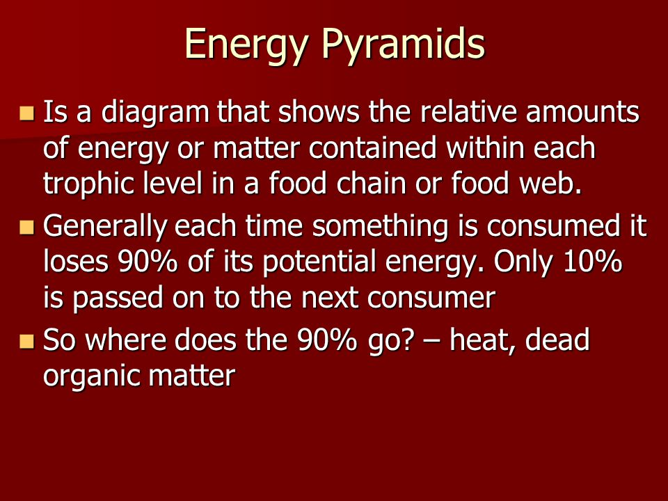 Energy Pyramids Is a diagram that shows the relative amounts of energy or matter contained within each trophic level in a food chain or food web.