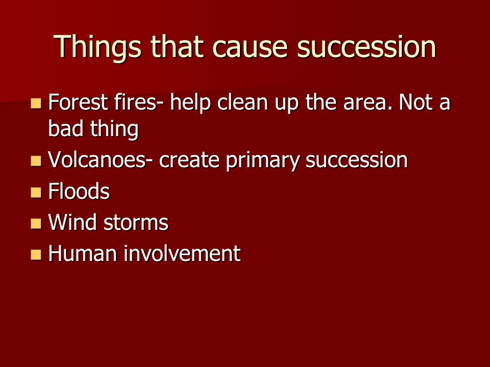 Things that cause succession Forest fires- help clean up the area.