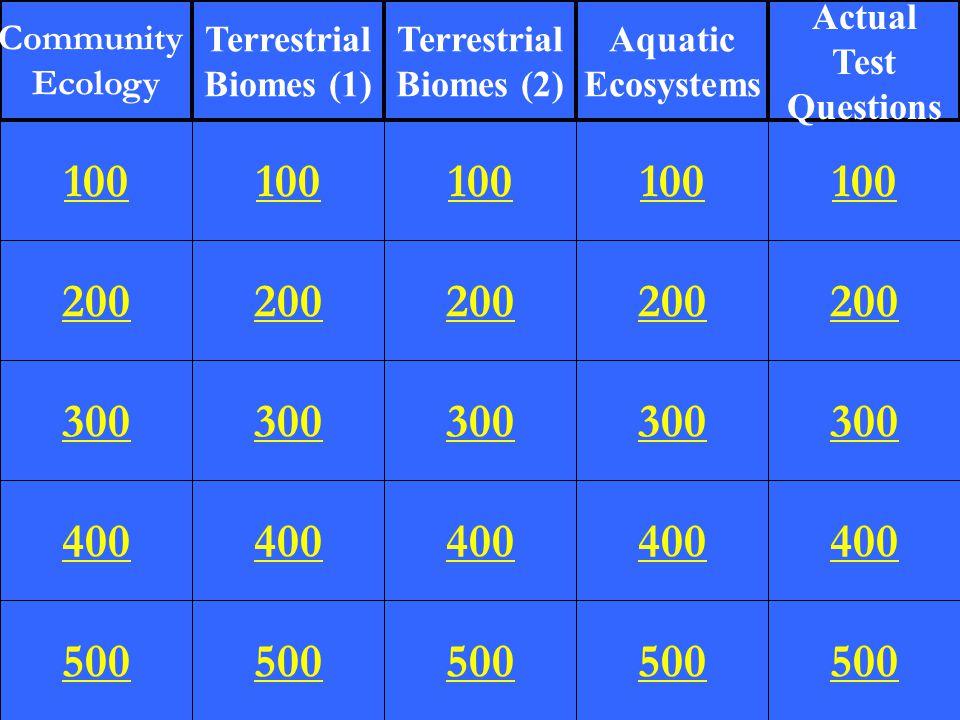 200 300 400 500 100 200 300 400 500 100 200 300 400 500 100 200 300 400 500 100 200 300 400 500 100 Community Ecology Terrestrial Biomes (1) Terrestrial Biomes (2) Aquatic Ecosystems Actual Test Questions