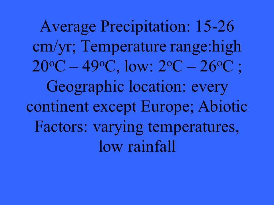 Average Precipitation: 15-26 cm/yr; Temperature range:high 20 o C – 49 o C, low: 2 o C – 26 o C ; Geographic location: every continent except Europe; Abiotic Factors: varying temperatures, low rainfall