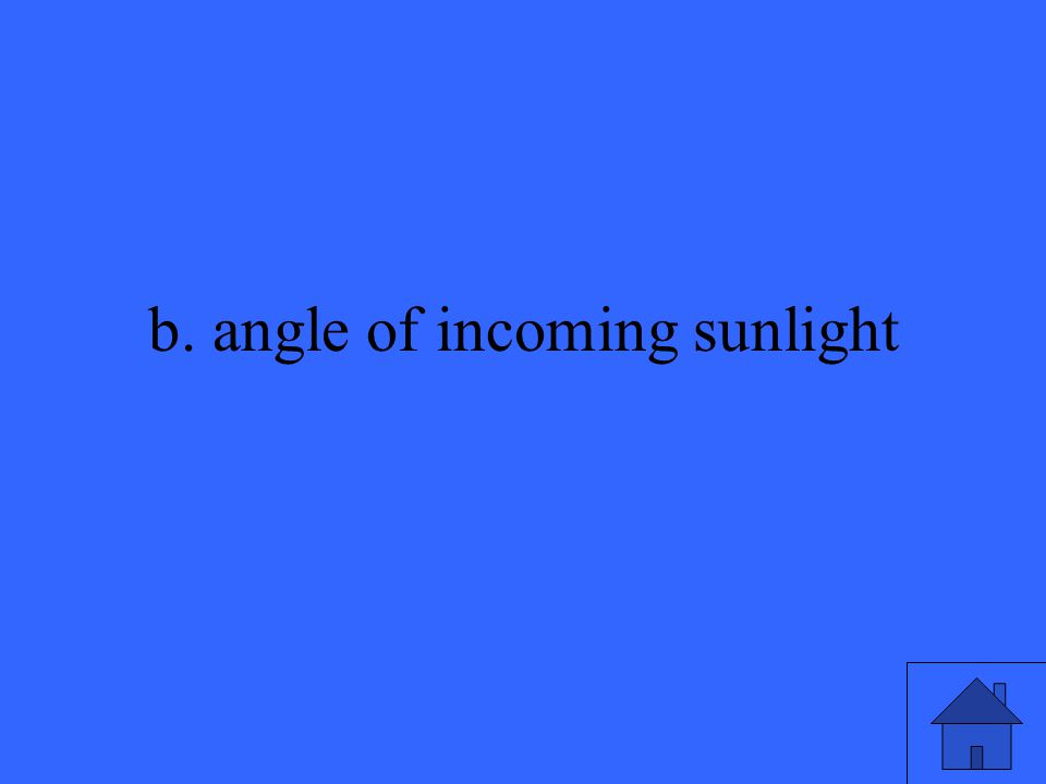 b. angle of incoming sunlight