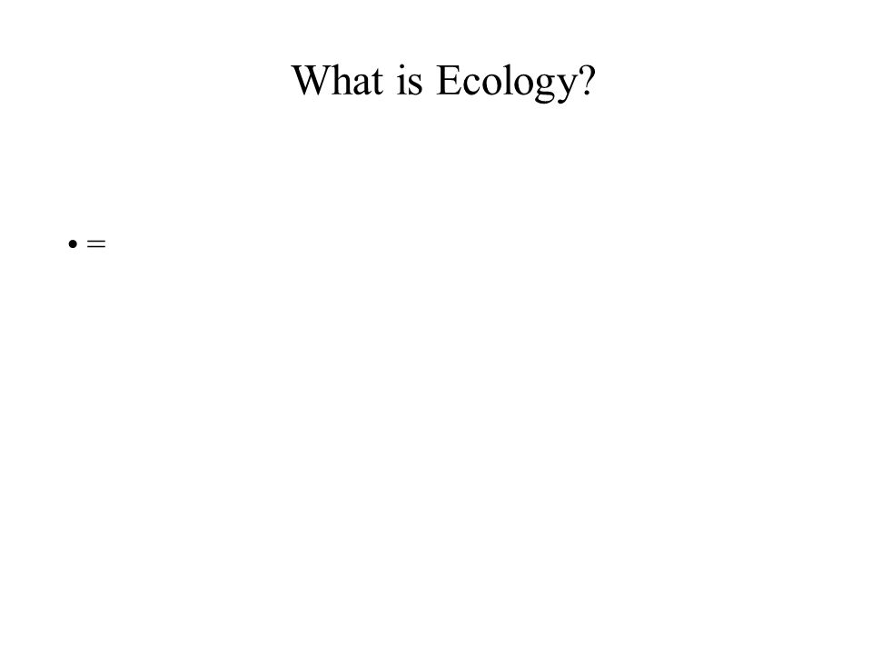 What is Ecology? =