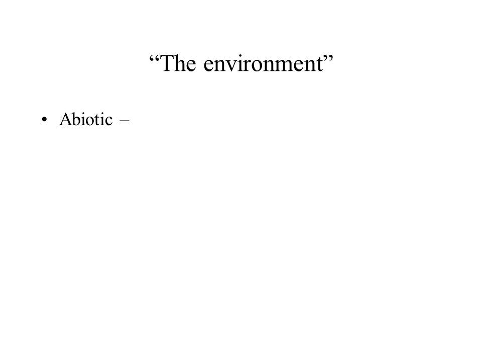 """The environment"" Abiotic –"