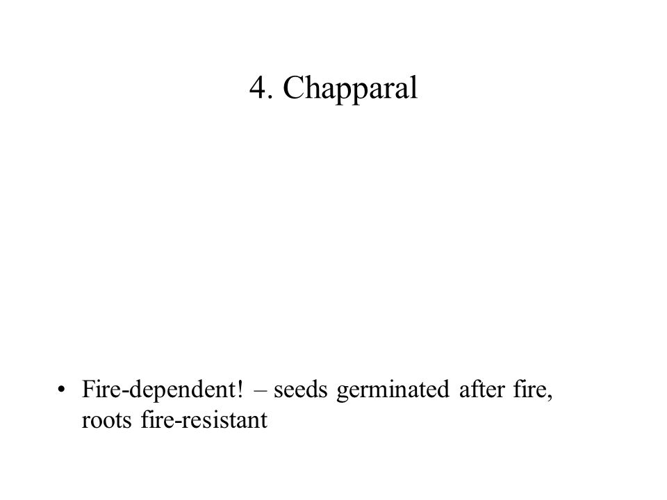 4. Chapparal Fire-dependent! – seeds germinated after fire, roots fire-resistant