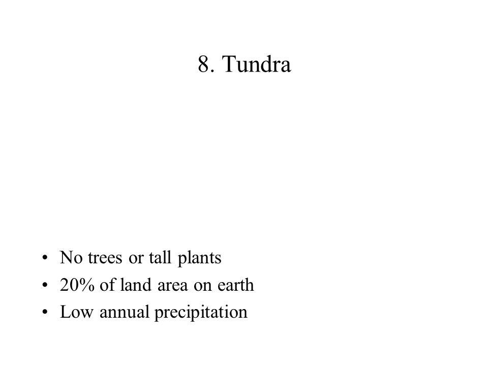 8. Tundra No trees or tall plants 20% of land area on earth Low annual precipitation