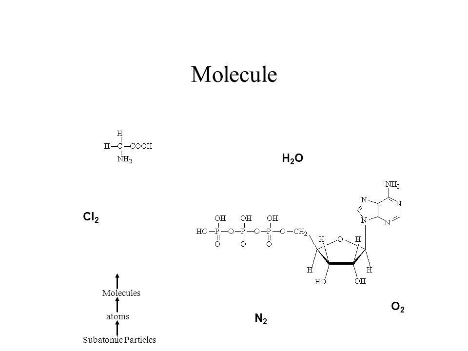 Molecule H2OH2O N2N2 O2O2 Cl 2 Subatomic Particles atoms Molecules