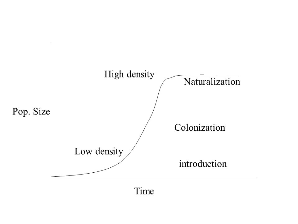Pop. Size Time Low density High density introduction Colonization Naturalization