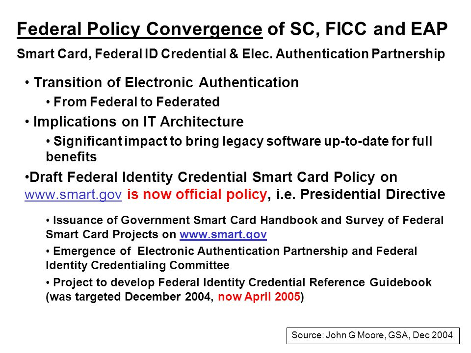 Federal Policy Convergence of SC, FICC and EAP Smart Card, Federal ID Credential & Elec.