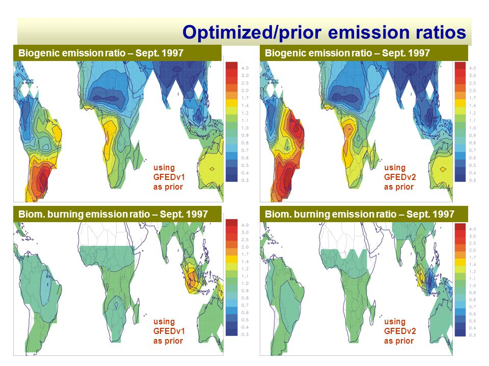 Optimized/prior emission ratios using GFEDv1 as prior using GFEDv2 as prior using GFEDv1 as prior using GFEDv2 as prior Biom. burning emission ratio –