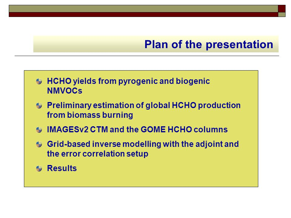 HCHO yields from pyrogenic and biogenic NMVOCs Preliminary estimation of global HCHO production from biomass burning IMAGESv2 CTM and the GOME HCHO co
